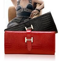 2014 Hot Sale!Genuine Leather Wallet Women Ladies long design Purse Female Crocodile pattern Wallets real Cowhide Famous brand