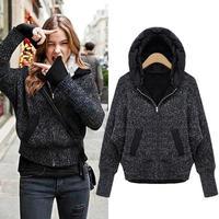 2014 Autumn Winter Women's Clothing Sweatshirt Loose Fleece Thickening With Hood Long-sleeve Zipper Casual Outerwear Coat Female