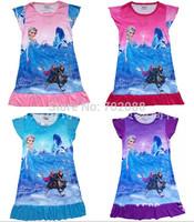 Retail frozen dress elsa nightgown Elsa girl dresses girls Sven Olaf