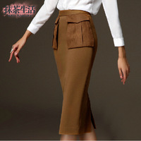 Luxurious brand design one step elastic pocket over-knee straight formal skirts 2014 new arrival Women's Clothing