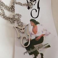 Michael Jackson Necklace Silver Plated Pendant MJ King Of Pop Thriller Moonwalker MJ Bad logo necklace