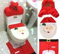 1set 2014 New Christmas Decoration Happy Santa Toilet Seat Cover 1set include 3pcs Seat size 35.5*43cm