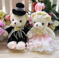 Free Shipping Black and pink wedding couple bear wedding decoration teddy bear small plush toys 16cm 1pair