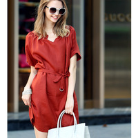 New 2014 Women Summer Dress Elegant Short-sleeve V-neck Linen Casual Dress With Sashes vestido de festa Plus size S-XXL
