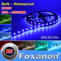 Foxanon Brand 5050 Led Strip RGB 60LED/M Flexible light No-waterproof 5M 300LED White/Warm White Red Green Blue,RGB 12V 5M/Roll