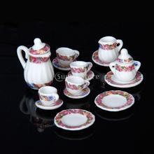 Venda quente nova marca 15 pcs Dollhouse Miniature jantar utensílios de chá de porcelana conjunto de prato colorido cópia Floral grátis frete(China (Mainland))