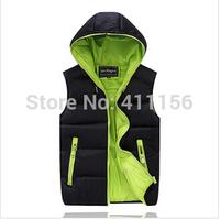 men Winter Warm Man's Down Cotton Vest Fashion Waistcoat 2013 detachable cap men slim casual cotton vest waistcoat