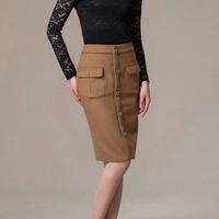 winter fashion women's high waisted slim wool skirts pocket button elastic occupation one step ol skirt NEW Khaki S M L XL XXL