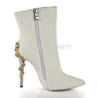 Hot Selling Snake Heels Pointed Toe Pearl Winter Boots For Women Shoes Patent Leather Zip Rhinestone Wedding Party Dress Shoes