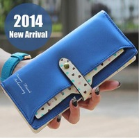 2014 New Leather Famous Design Lovely Printing Women Wallet,Long Draw-out Type Female Wallet Clutch Purses carteira feminina