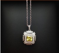 New Micro set auger s925 Pure Silver plating 18 k platinum canary ancient classic lamp does not rub off Pendant Necklace