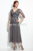 2014 Elegant Elegant Beach V Neck Half Sleeves Beading crystal Formal Evening Dress Gown for Party Wedding Custom Made