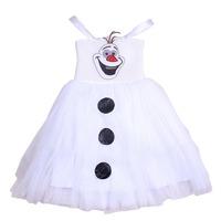 2014 White Olaf Dress Cartoon Movie Cosplay Dress Girl Dress Frozen Princess Elsa Costume For Children Gift