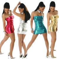 2014 Europe dresses women's sexy nightclub dress predetermined light wind rock solid models leather dress  mls-430
