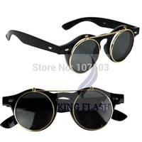 2014 Hot Sales Unisex Retro Style Flip Up Round Sun Glasses Steampunk Sunglasses 8102