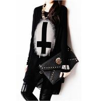 Women  Long Chiffon Patckwork Black  T shirts Tops  Loose  Vintage Cross Print  Basic T-shirt  For Ladies S-XXL 10144