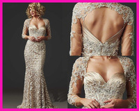 2014 Elegant Sexy Mermaid 3/4 Sleeves Lace Appliques Stain Formal Evening Dress Gown for Party Wedding Custom Made