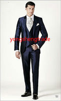Brand Navy Three Pieces Wedding Suit In Silk Shantung Fabric Customized Tuxedo High Quality Groom Suit MS0382