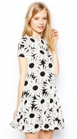 Free Shipping Daisy flower printed short-sleeved knit dress