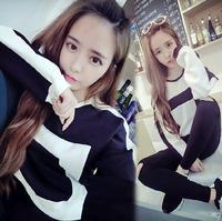 Fashion Autumn Sweatershirt 2014 Women Black White Patchwork Pullover New Casual O-Neck Sweatshirts WE1075