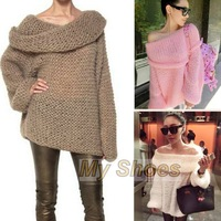 Hot Winter Sweaters Women Inspired Chunky Fuzzy Off Shoulder Loose Knitted Sweater Pullover Jumper Winter Tops SV006083 3F
