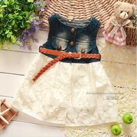 Autumn baby girl vest dress pink white cotton sleeveless denim vest dress kids girls dress children denim dress 4pcs/lot