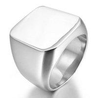 Stainless Steel Ring Silver Signet Polished Biker Size 7 8 9 10 11 12 13 14 15,JR597