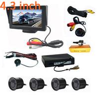 "Car Reverse Rearview Camera Video Parking Sensor 4.3"" Color LCD Screen Monitor 2 way Video Input  Flush Mounted Camera 4 Sensors"