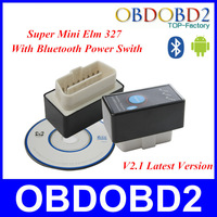 Maike AD0091.2014 Lowest Price Super Mini Bluetooth ELM327 Power Switch CAN-BUS Car Scan Tool ELM 327 OBDII V2.1 12 Languages Av