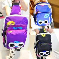 2014 summer new fashion packet chest pockets satchel bag men bag sports bag tide phone package with glasses print