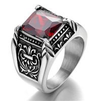 Vintage Stainless Steel Gothic Biker Men's Ring , Color Silver Black, Red Crystal