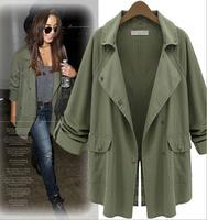 NEW Army green Long sleeve wind coat, woman coat 8327