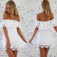 roupas femininas verao vestidos branco vestido de renda summer dress 2014 Off shoulder lace mini Dress Free shipping
