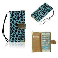 Wallet Style Stand PU Leather Case for iPhone 6 Plus Leopard Blue