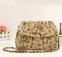 Free Shipping 2014 New Fashion Plush Fashion Chain Shoulder Bag Diagonal Handbags Leopard Women Bags Wedding Party Bags 31261