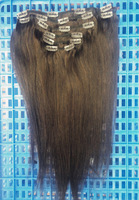 "Hot Indian Remy Hair Full Head Clip in Human Hair Extensions 18"" #4 Dark Brown Color 95grams"
