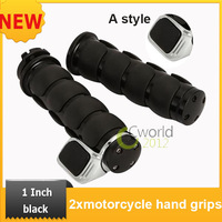 """Free Shipping Cruiser Hand Grips Motorcycle1"""" Black For most motorcycles,Motor Bikes ,Choppers Style A"""