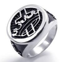 Mens Enamel Stainless Steel Cross Crown Freemason Masonic Ring, Black Silver