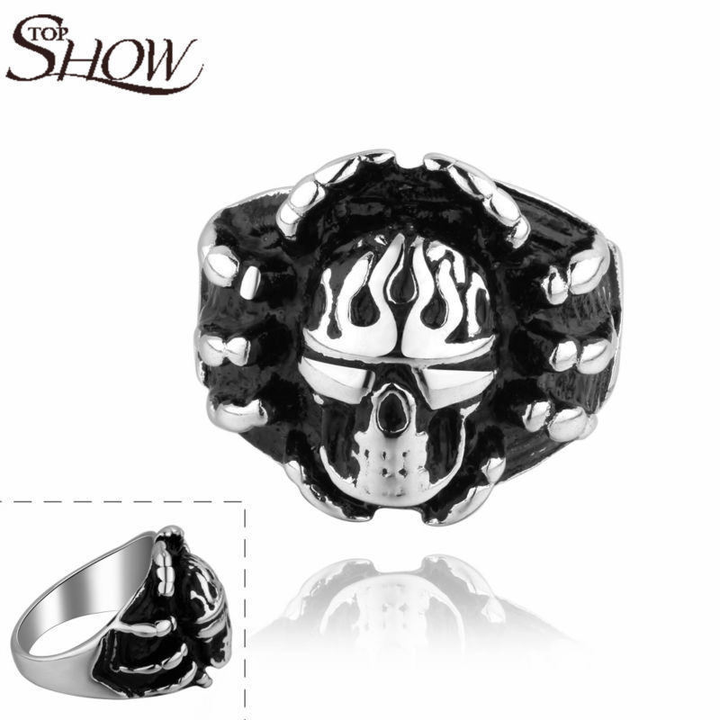 Wholesale skull head men finger ring Gothic punk Party rings Rock Biker 316L Stainless Steel men jewelry free shipping R012(China (Mainland))