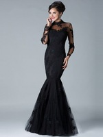 Charming Elegant Free Shipping Mermaid Design Appliques Full Sleeve Black Tulle Natural Long Prom Dresses New Arrival
