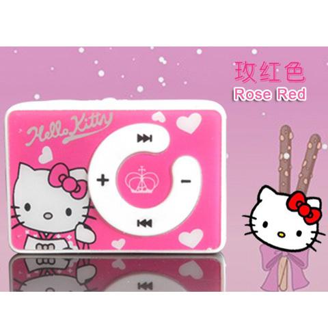 100% New Band Hot sale 1pcs/lot cheapest fashion mini clip hello Kitty MP3 player support TF card No Box 5 colors Free shipping(China (Mainland))