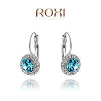 2014 ROXI best selling jewelry genuine Austrian crystal blue mosaic earrings for women freeshipping