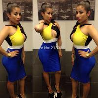 2014 New design women dress color block cross the bust and backless slim hip women sexy club dress women bandage dress M L XL