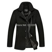 2014 New Fall&Winter Men's Wool Overcoats Man Fur Collar Blends Coat Upscale Woolen Jacket  Causal Men's Warm Thick Wool Outwear