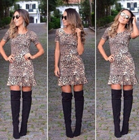 short sleeve Vintage Animal leopard print One Piece o-neck Fitted Bodycon Pencil Midi Dress party clubwear Dresses vestido