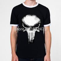 New 2014 Summer Fashion Cotton T Shirt Punisher Skull t shirt Men Ringer Shirts Plus Size T-shirt Free Shipping