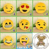 32cm*32cm Soft Emoji Smiley Emoticon Yellow Round Cushion Pillow Stuffed Plush Cushion 10cm*10cm/32cm*32cm