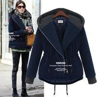 Hot New Winter Long Sleeve Plus Size Wide-waisted Women's Coats 2014 European Zipper Cotton Patchwork Manteau Femme 9908