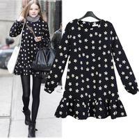 European Style Mini Plus Size Casual Vestidos Free Shipping 2014 Autumn Ruffles Long Sleeve Flowers Print Dress 9083