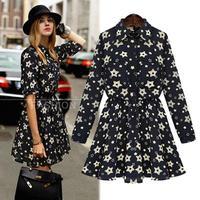 2014 Newest Autumn Turn-down Collar Plus Size Women Dresses European Long Sleeve Slim Print Vestidos Femininos 9909
